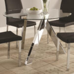 furniture cool small modern dining room decoration using black leather chair along with square chrome table legs and round metal glass accent tables entrancing ideas buffet lack 150x150