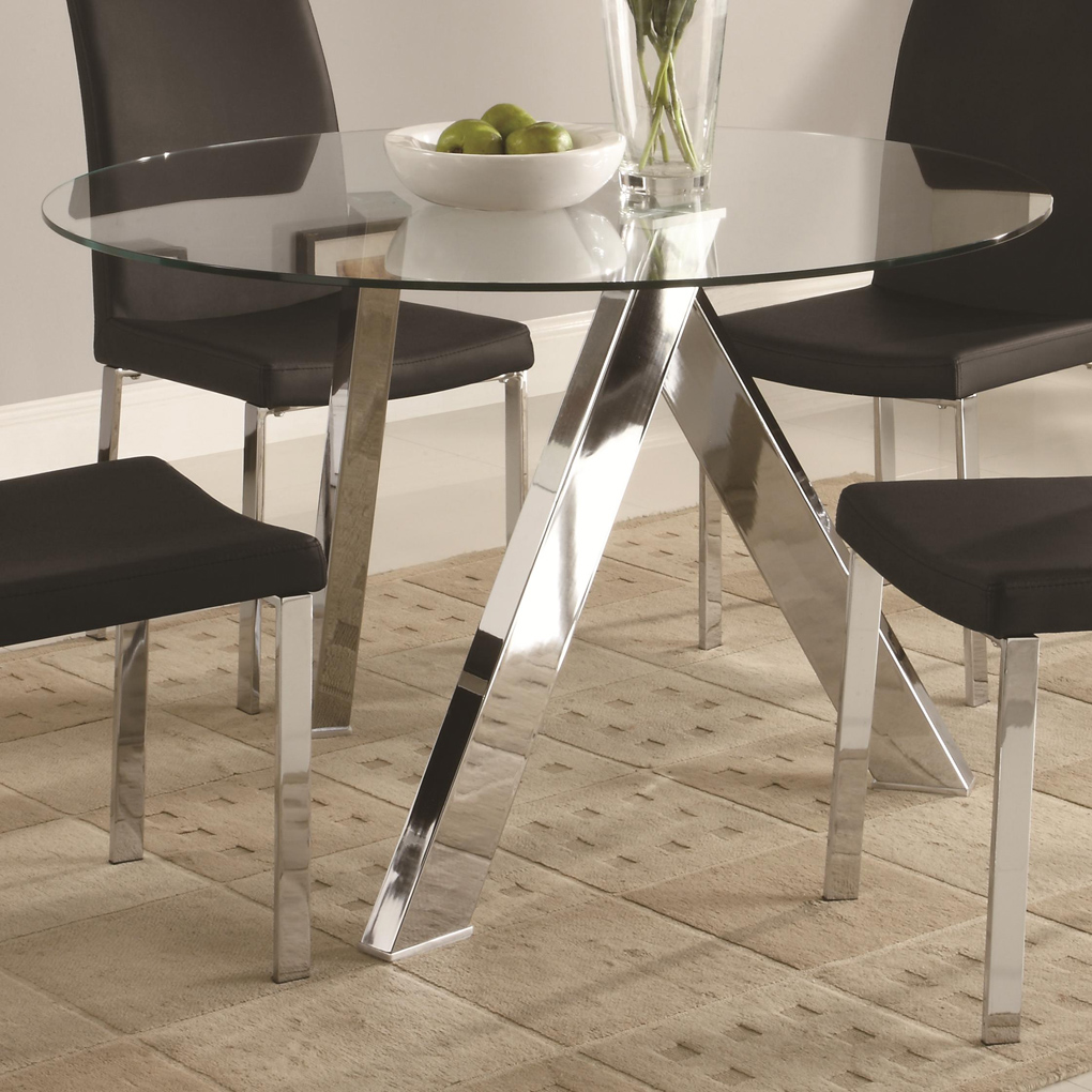 furniture cool small modern dining room decoration using black leather chair along with square chrome table legs and round metal glass accent tables entrancing ideas buffet lack