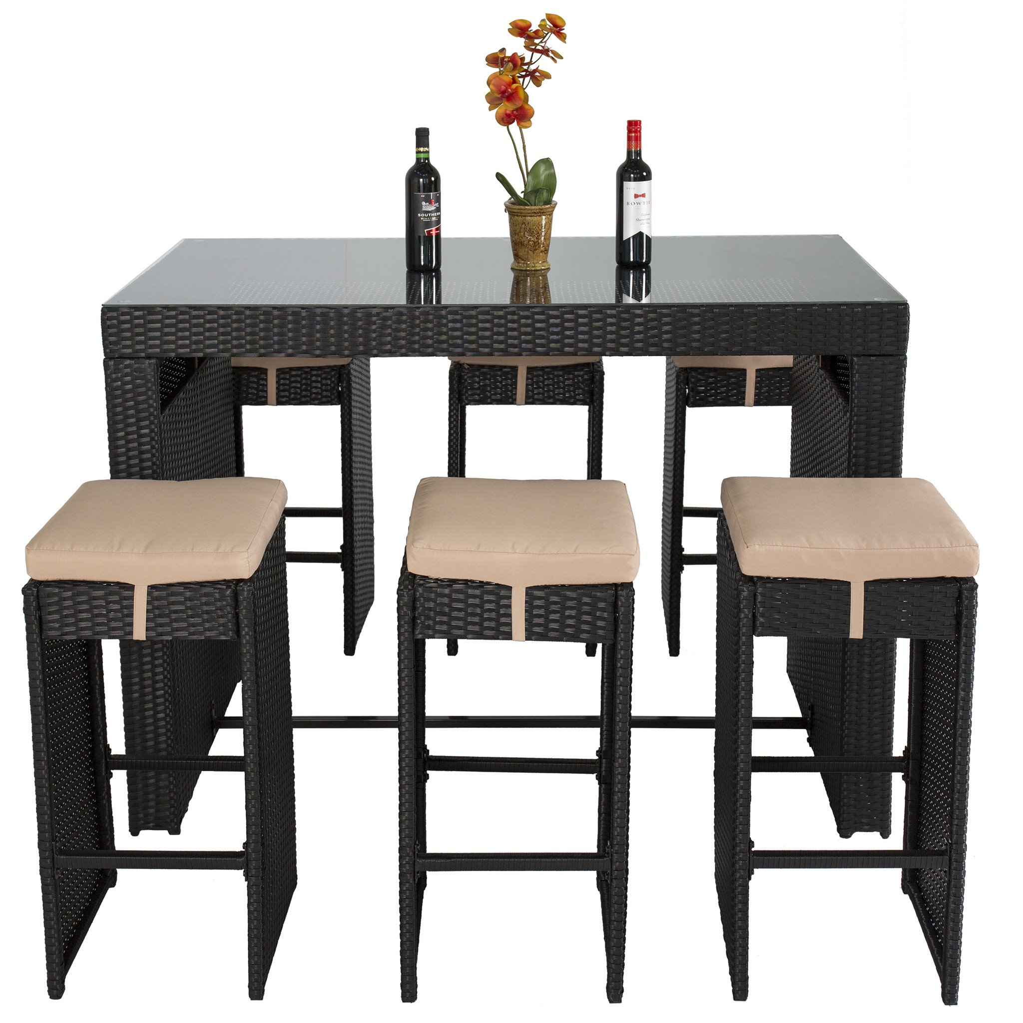furniture cool wicker patio grand cypress rattan bar dining table set house stools underneath for storage black long length tempered glass top home decors accent full size target