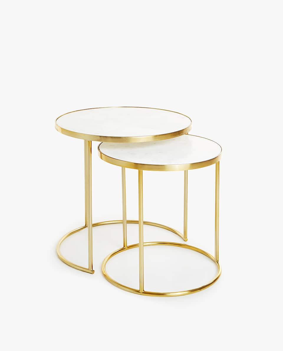 furniture decor zara home america accent table marble nesting tables with golden base set west elm white corner patio umbrella steel coffee legs tall narrow end french round side