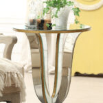 furniture delightful gold mirrored buffet table for living charming idea room decoration using round side including yellow wall and queen anne chair legs divine night stand accent 150x150