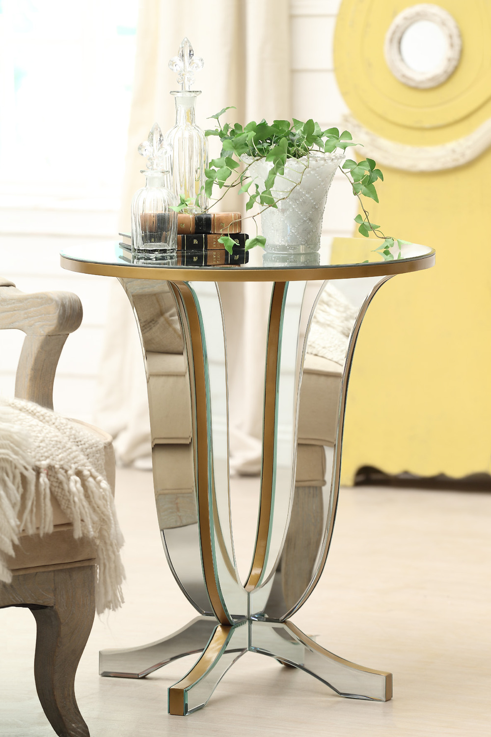 furniture delightful gold mirrored buffet table for living charming idea room decoration using round side including yellow wall and queen anne chair legs divine night stand accent