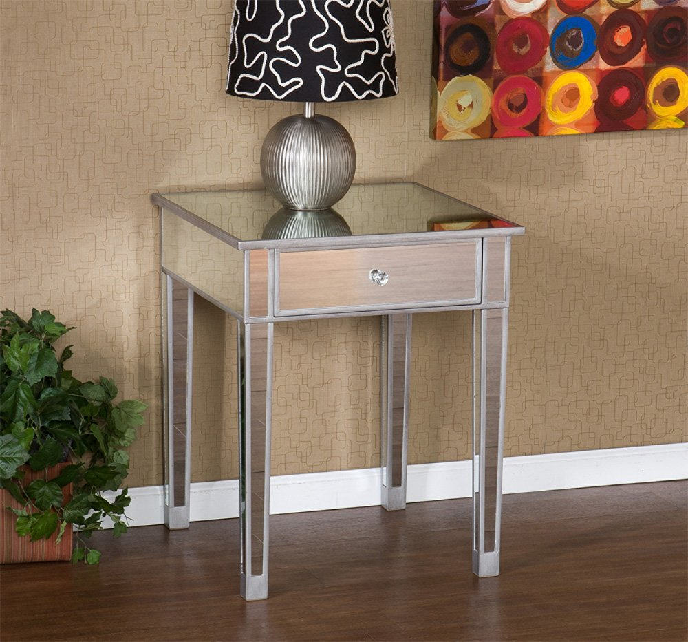 furniture elegant mirrored accent table for home ideas montrose with drawer plus wooden floor decoration target bar cabinet pedestal side mosaic threshold pier one glass tops wood
