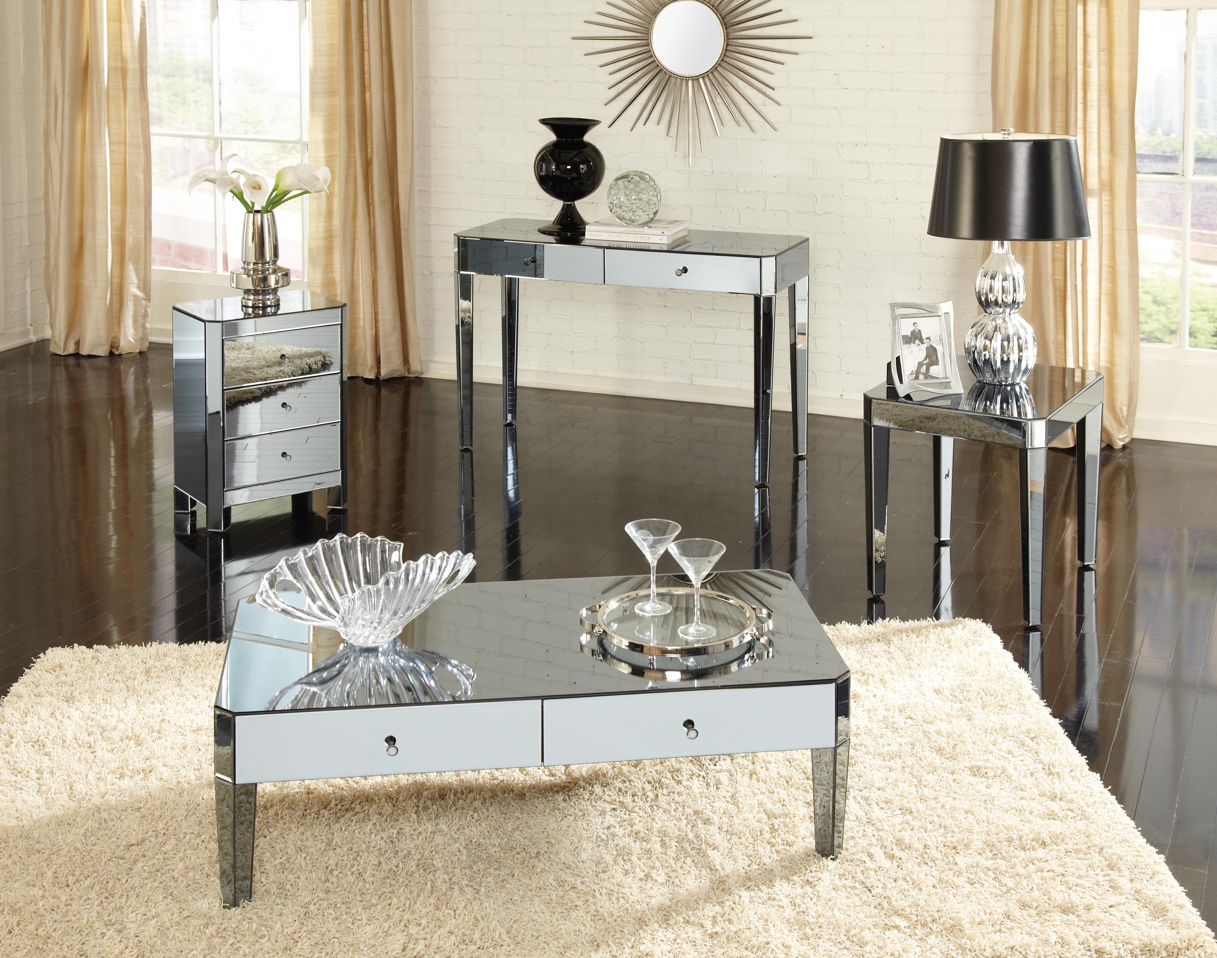 furniture elegant mirrored accent table for home ideas parisian smoked sets living room round pedestal side faceted mirror metal with drawers and set pottery barn drum little kid