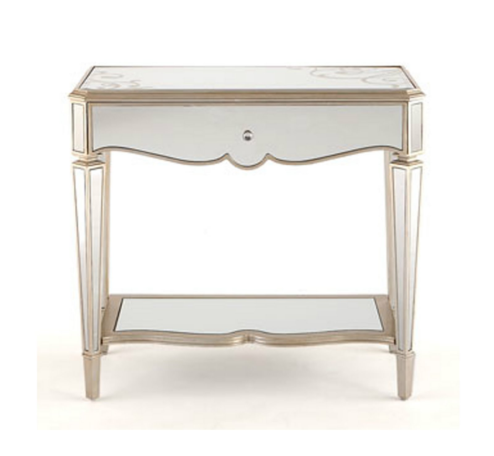 furniture elegant mirrored accent table for home ideas with curvy detail and single drawer shelf target round pedestal side desks inch coff yellow rug turners sliding barn door
