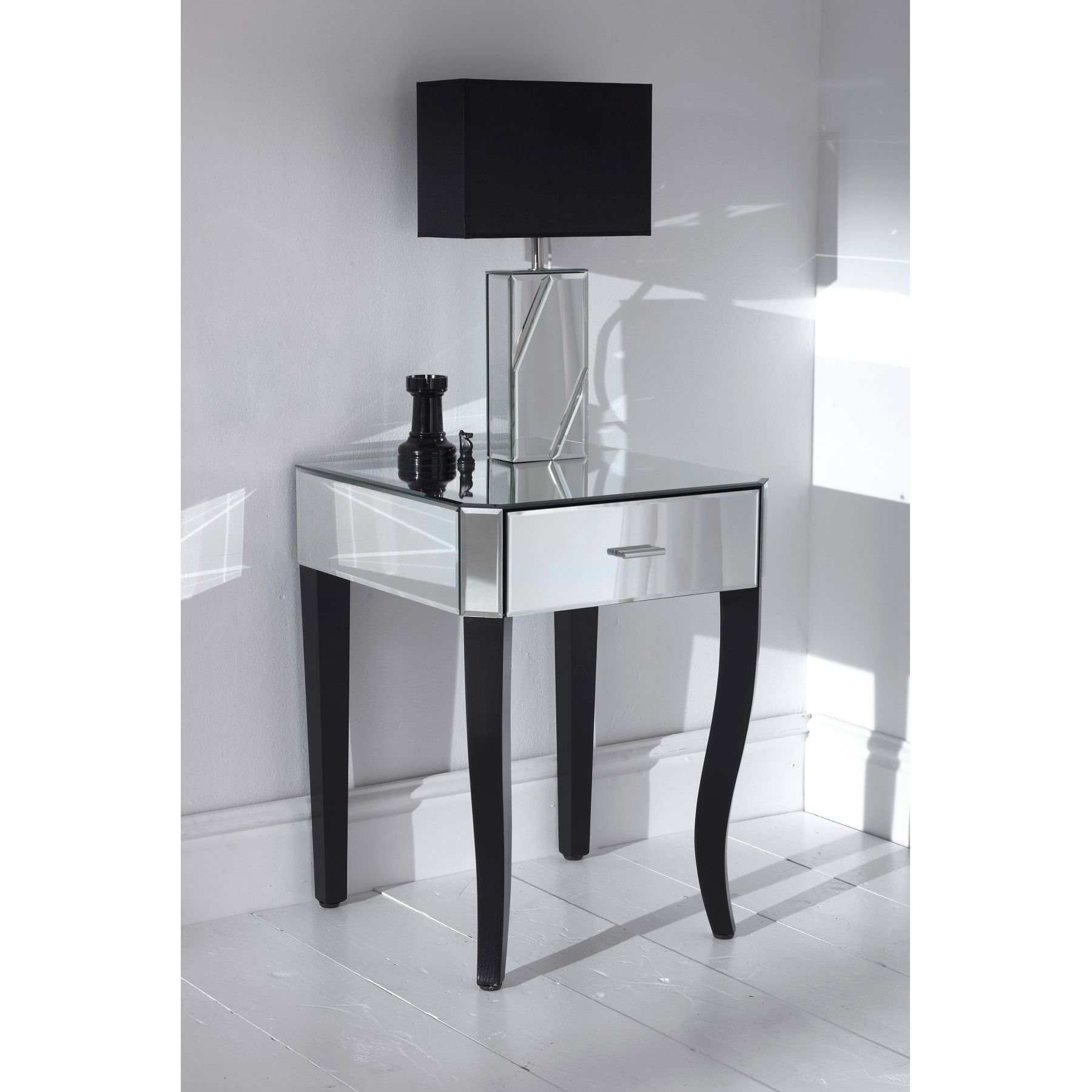 furniture elegant mirrored accent table for home ideas with single drawer plus lamp and tile floor bedroom decoration gold nightstand solid wood round coffee pedestal black target
