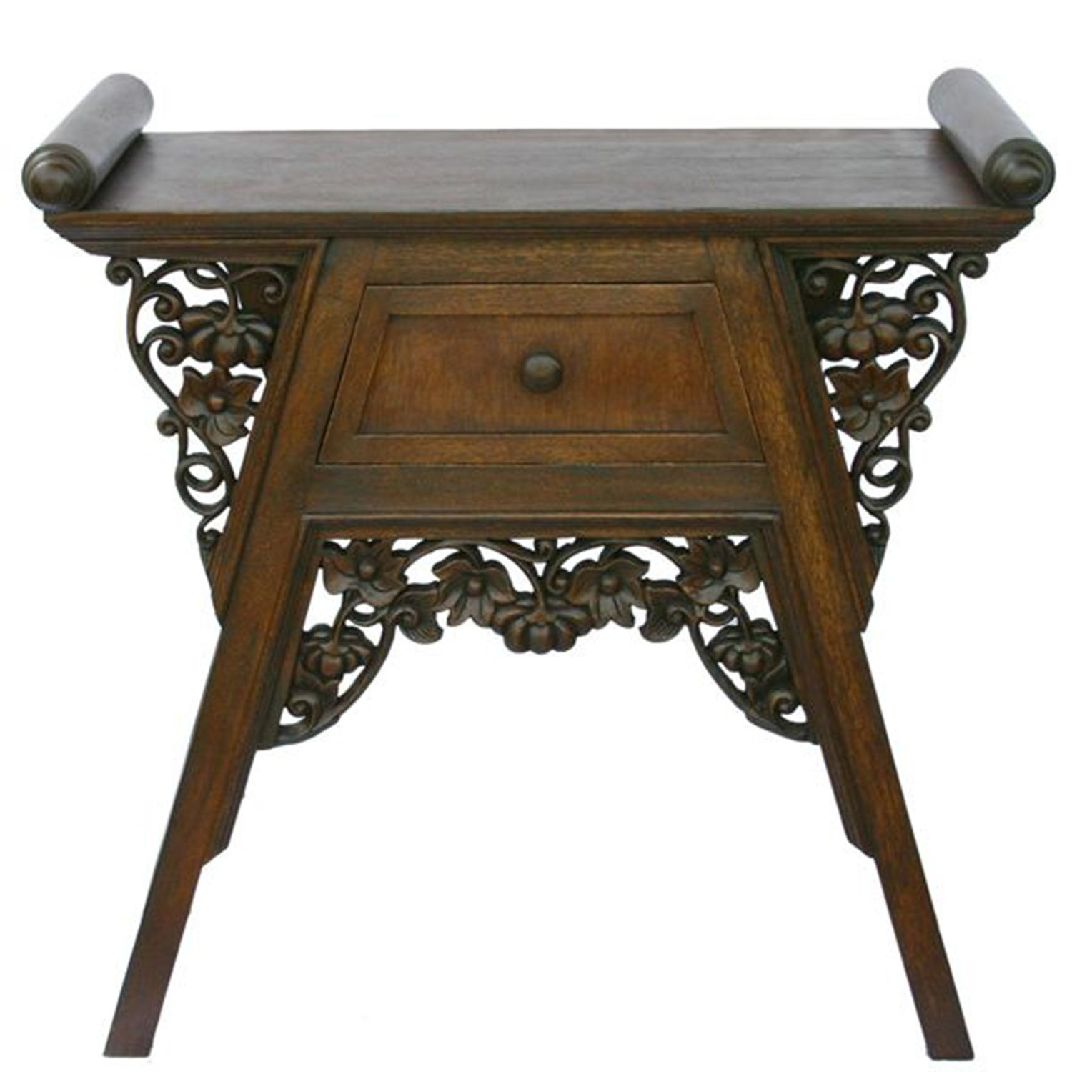 furniture elegant teak end table sets dark finish carved wood rattan set unique console for home decor embellished with floral carvings trapezoidal drawer wooden scroll accents