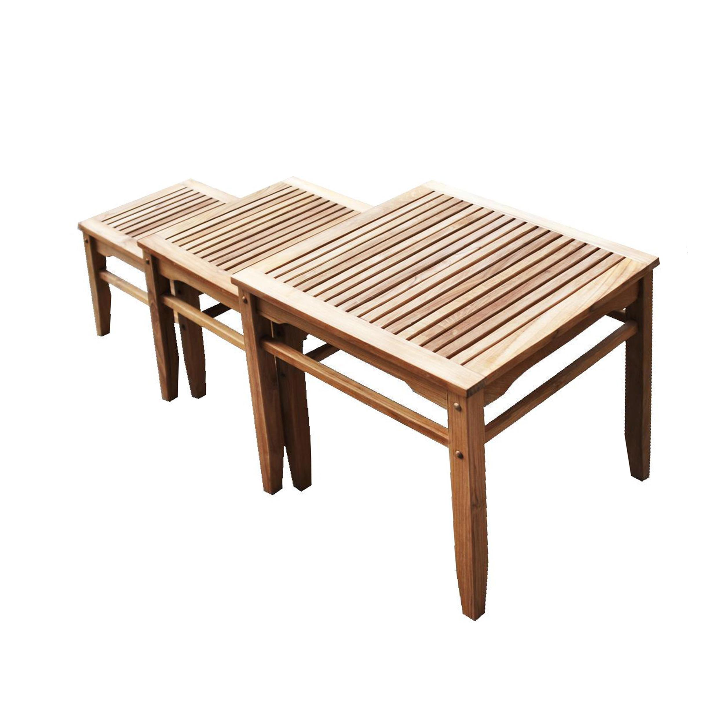furniture elegant teak end table sets nesting set quick drying slatted tabletop mission inspired craftsman style nests for easy storage outdoor sidetable ideas side full size