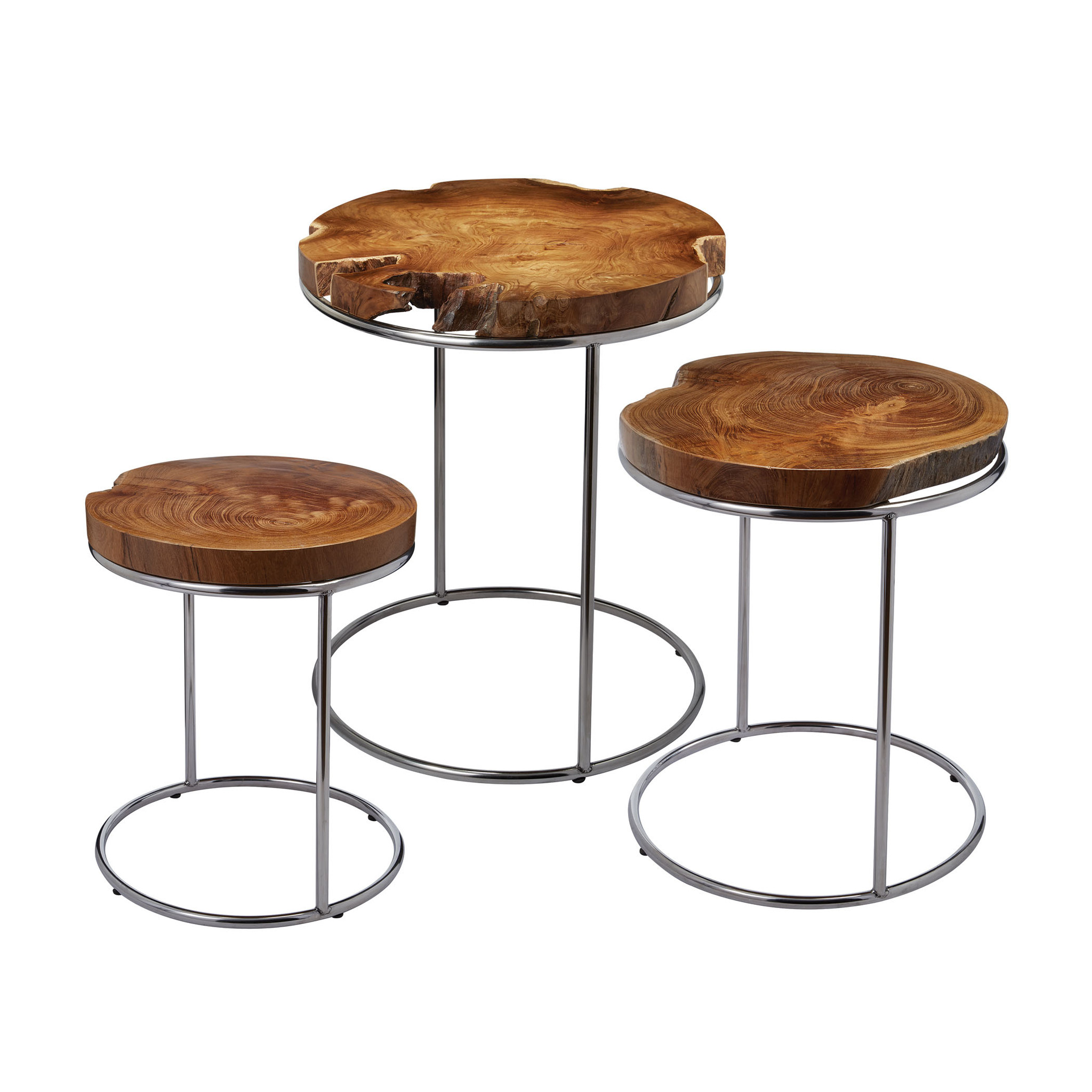 furniture elegant teak end table sets slab stacking tables set beautiful irregular shape the round live edge wood slabs metal tube bases useful side nice organic accent full size