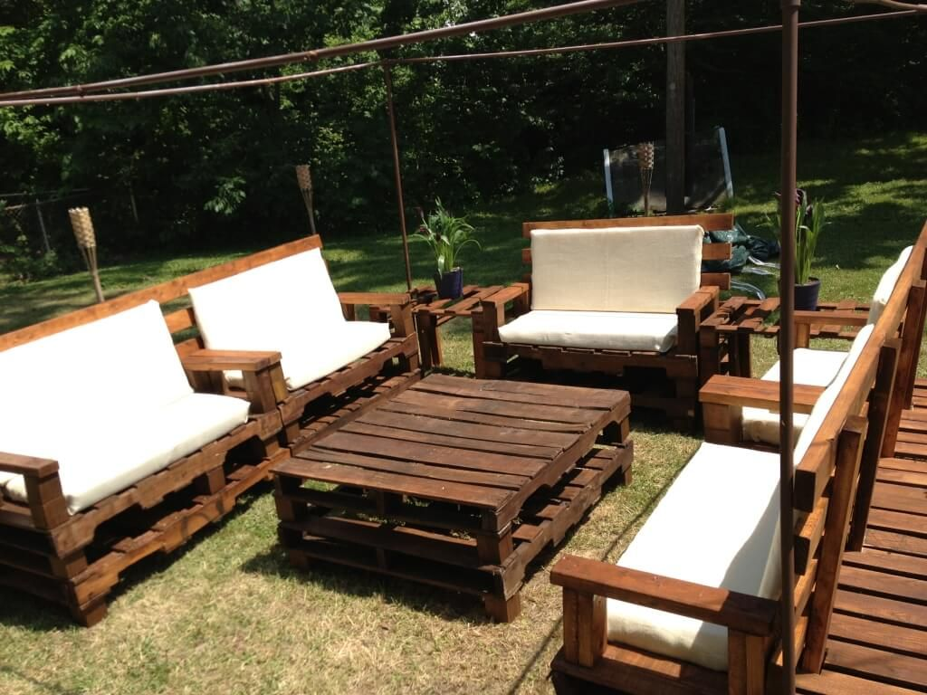 furniture fantastic diy rustic wood outdoor patio set ideas with white cushions and oversized square coffee table pallets for small spaces accent halloween tablecloth short