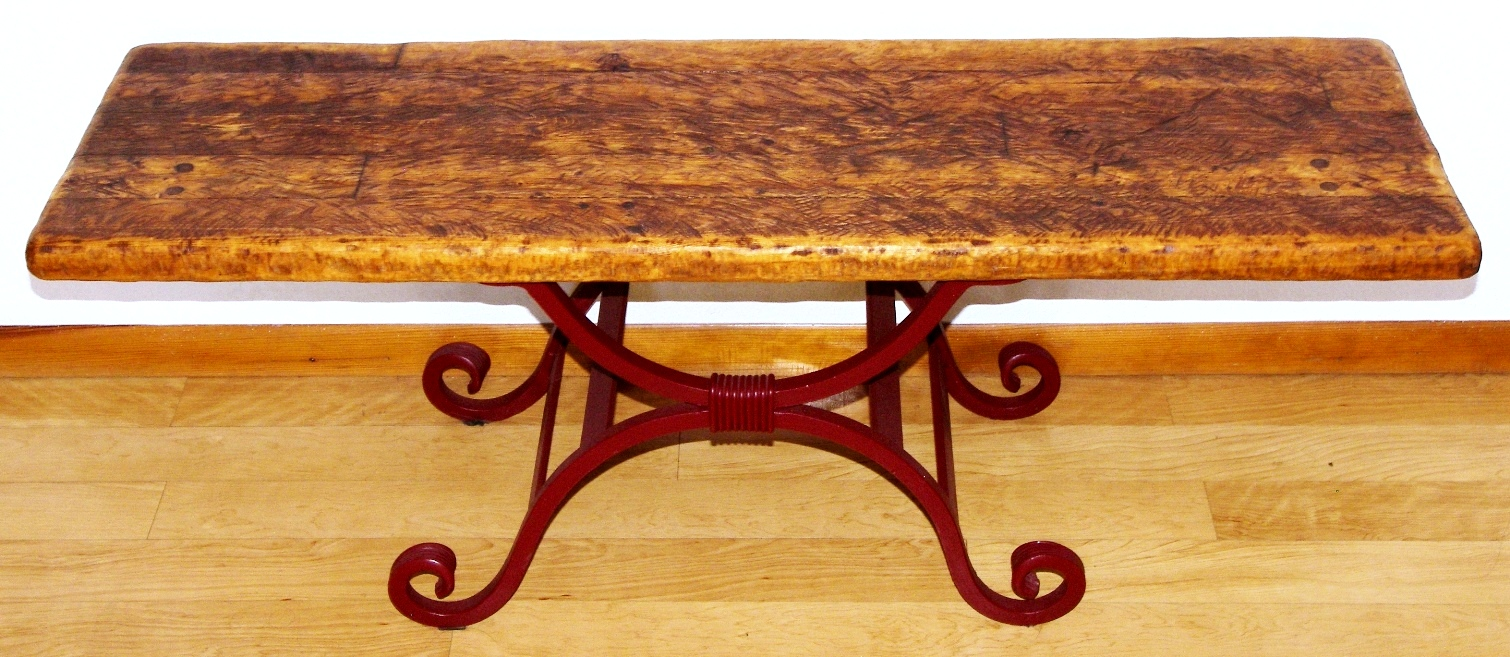 furniture for reclaimed wood wrought iron rustic accent base table tables white farmhouse kitchen wine bar cabinet modern coffee toronto houston pottery barn round pieces antique