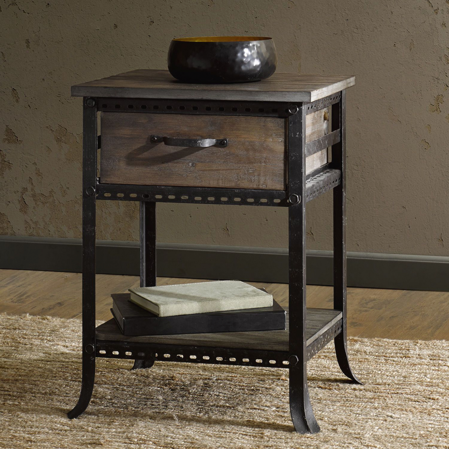 furniture industrial accent table end side nightstand rustic distressed intended for fresh night stand applied your residence design winsome timmy black brass glass top umbrella