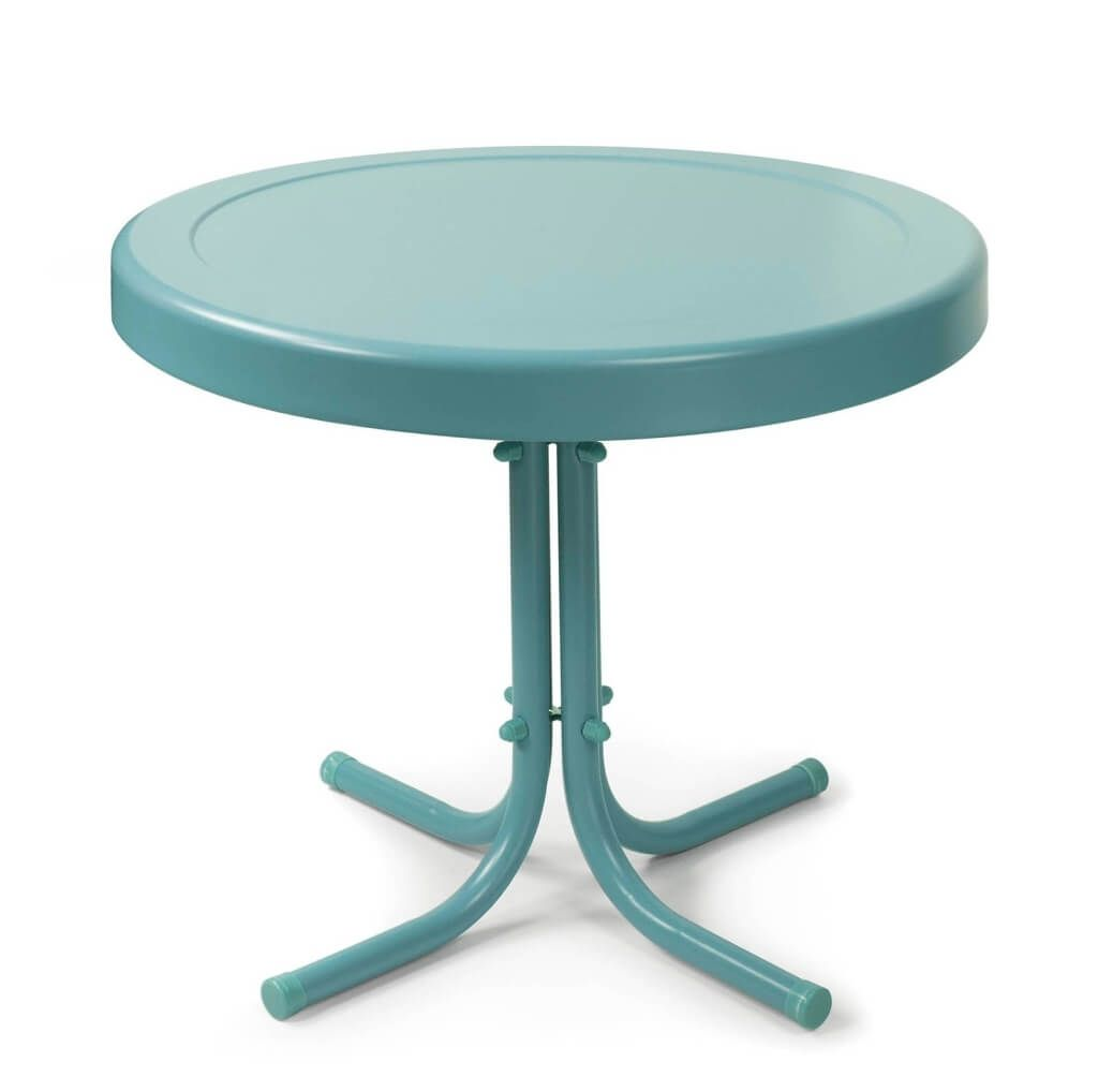 furniture interesting aqua blue round metal side table design west elm argent accent small tablecloth printed chairs brown wicker end contemporary chandeliers outdoor glass top