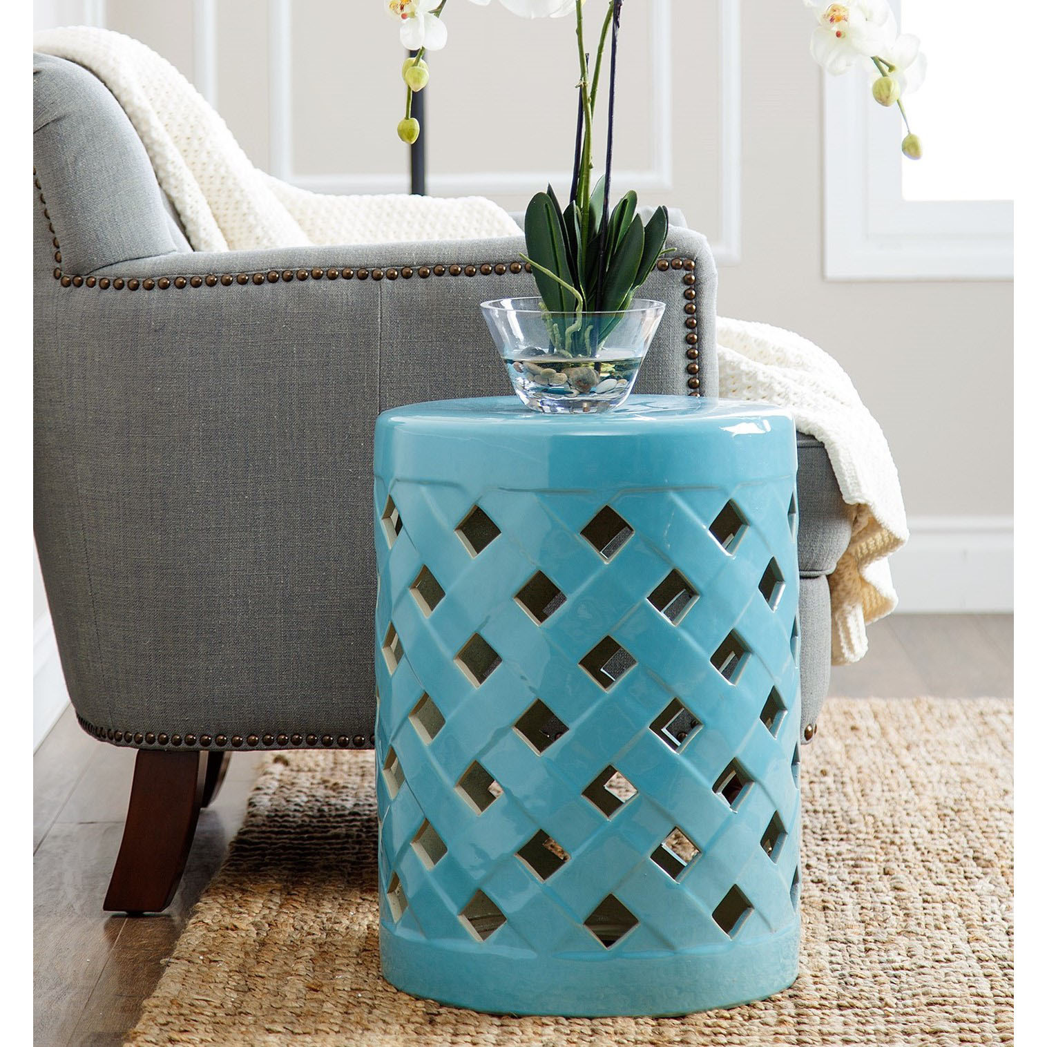 furniture interesting ceramic garden stool for outdoor unusual flower vases with blue and rug living room decoration ideas chinese drum side table metal cream pier one accent