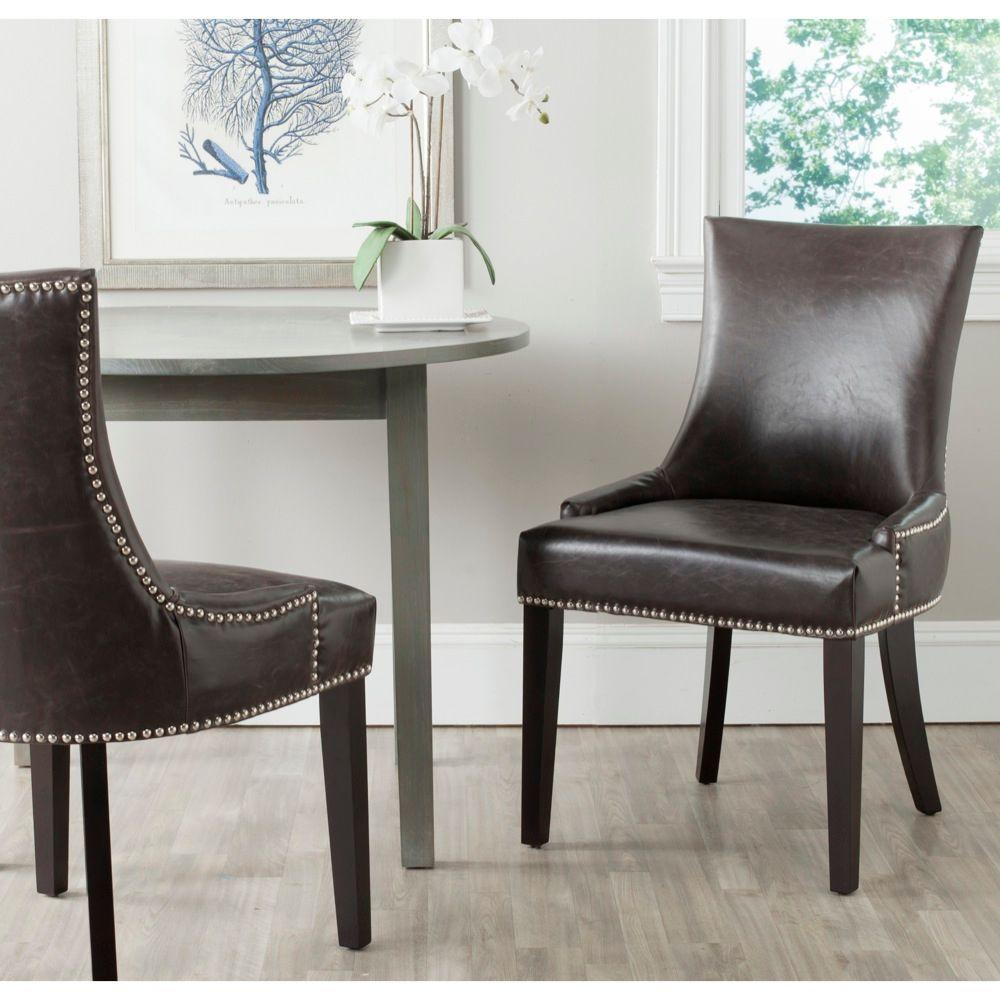 furniture leather dining room chairs with arms chocolate brown navy accent chair vintage armchair french cast iron table and wicker kitchen small cigar faux parsons black grey