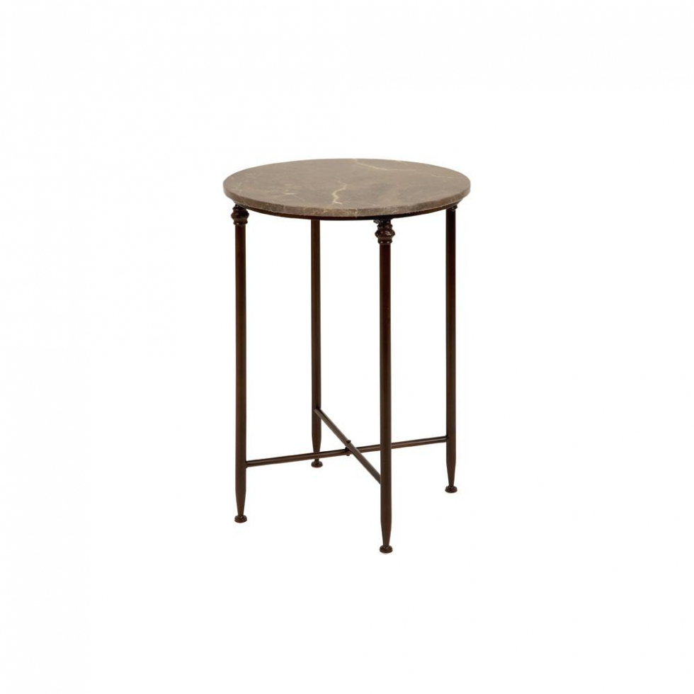 furniture litton lane beige marble round accent table with black iron legs within metal homepop couch decor coffee and lamp set ikea tall concrete top dining pottery barn bedside