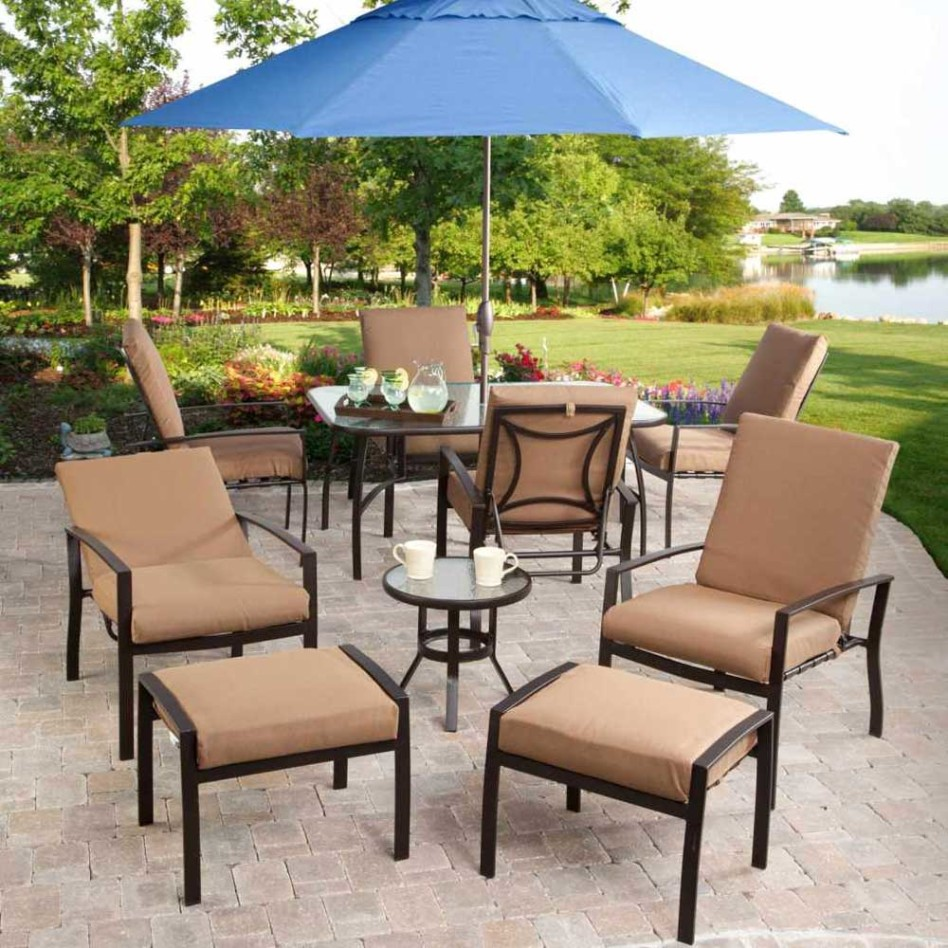 furniture magnificent outdoor dining room decoration using round light blue umbrella including black metal glass top side table and deck layout inspiring for your inspiration free