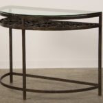 furniture mesmerizing half moon accent table with elegant looks sophisticated impressive brown carpet kirklands coffee tables and rounded console demilune und outdoor lamps 150x150