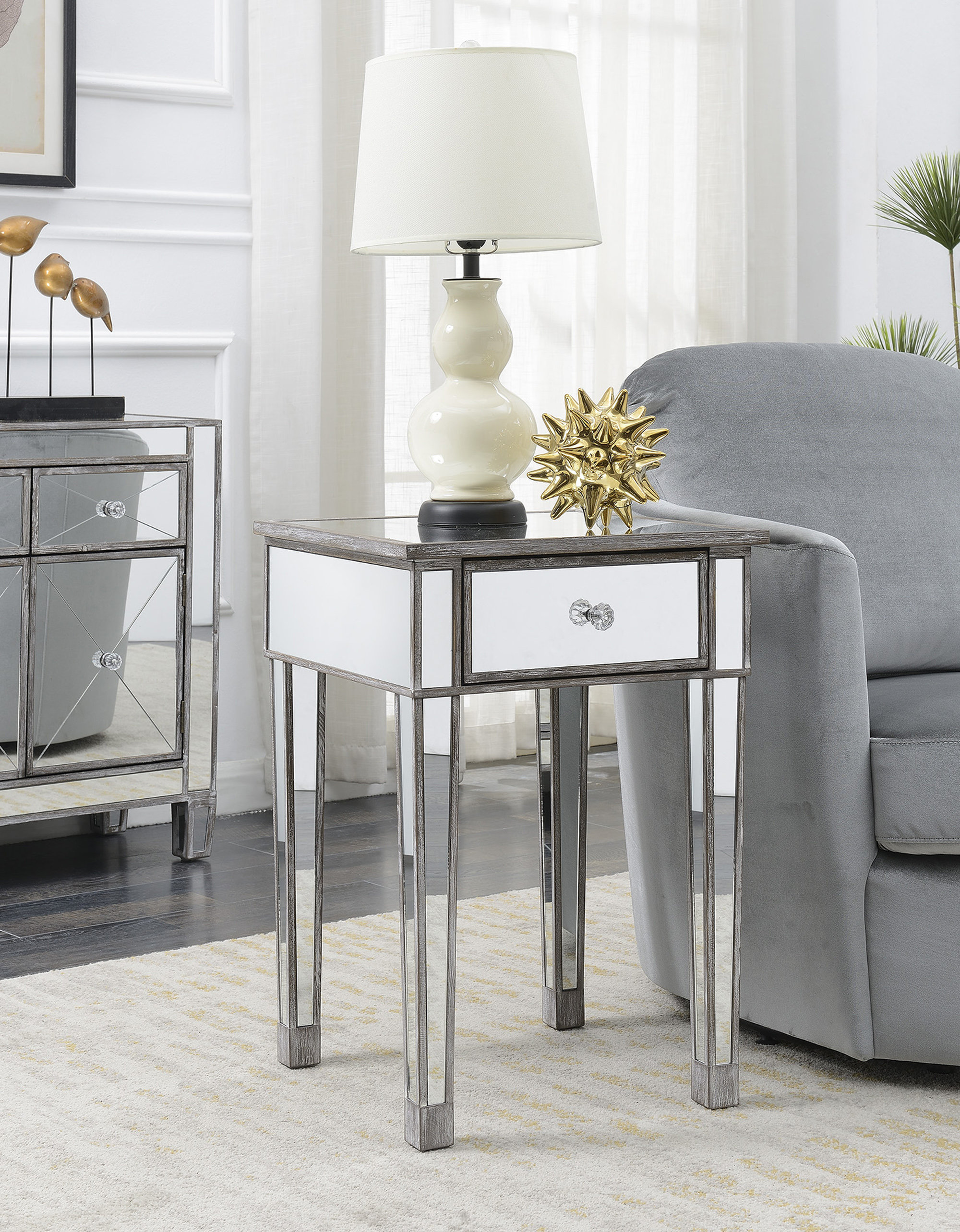 furniture mesmerizing living room and bedroom with mirrored end table drawers gallerie essa gold single drawer side bedside accent contemporary wood coffee tablecloth ikea kitchen