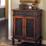 furniture mini cherry finish design alameda door drawer accent console table solid hardwood construction panel doors ebony rub through dovetail intricate scrolled trim detail with 150x150