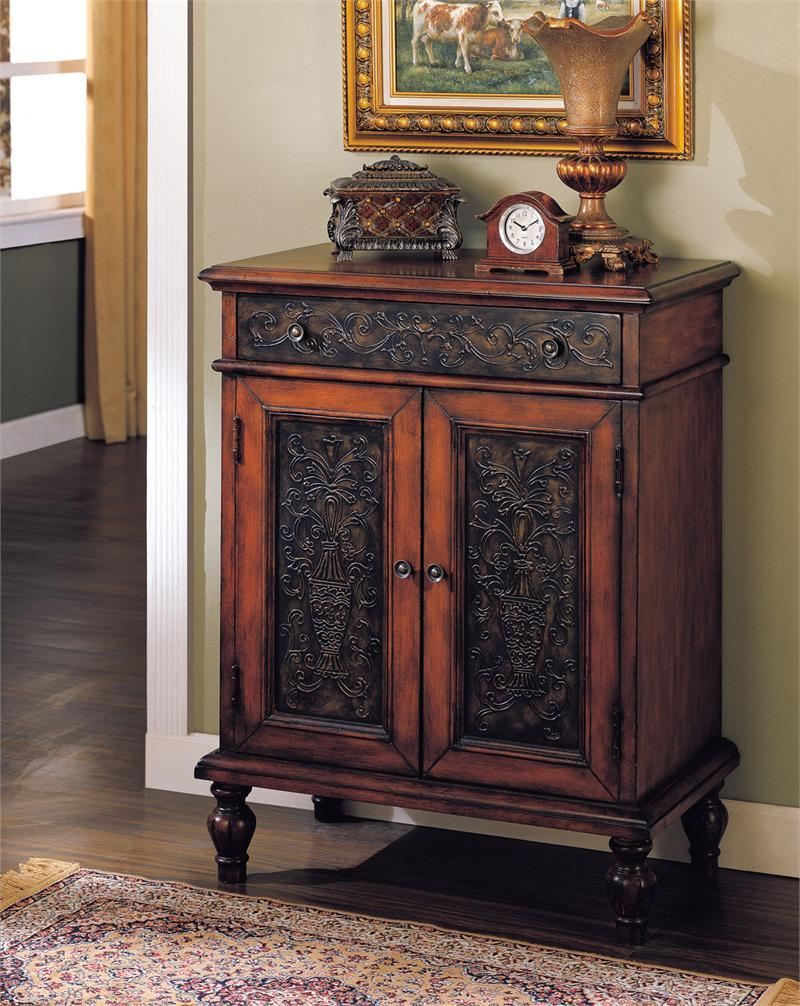 furniture mini cherry finish design alameda door drawer accent console table solid hardwood construction panel doors ebony rub through dovetail intricate scrolled trim detail with