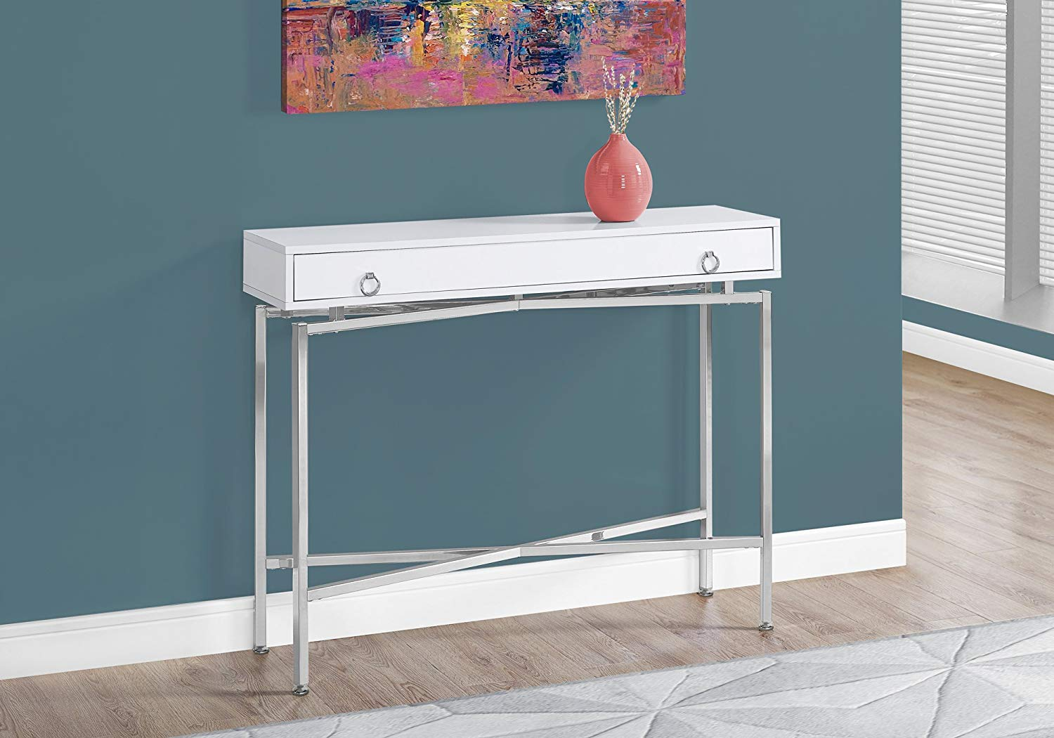furniture monarch hall console accent table cappuccino specialties glossy white chrome gold bedside lamps cabinet door knobs round glass and metal coffee treads wooden mosaic