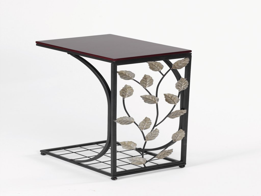 furniture narrow accent table beautiful wood and metal tray end with faux leaves small decorative cloths christmas tree storage box outdoor daybed french chairs plastic folding