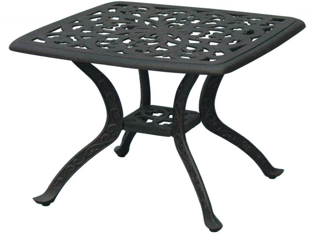 furniture patio accent table luxury darlee series cast aluminum end square small tables affordable sets kitchen counter dale tiffany hummingbird lamp black entry barn door