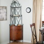 furniture perfect cast iron corner bakers rack with wooden storage cabinet for dining room accent ideas wine garage cabinets tall narrow entryway table amish made end tables extra 150x150
