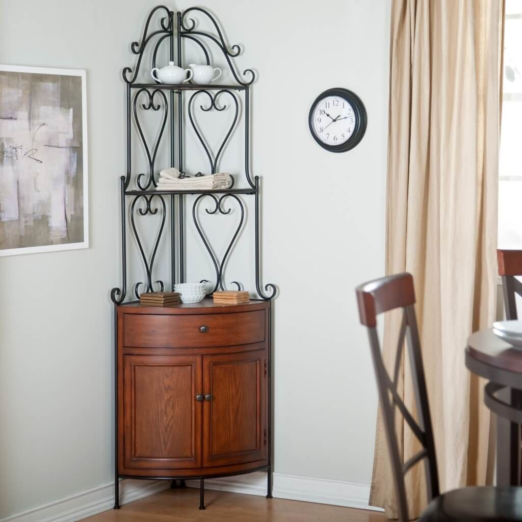 furniture perfect cast iron corner bakers rack with wooden storage cabinet for dining room accent ideas wine pottery barn tabletop amart outdoor table under wood leg extenders