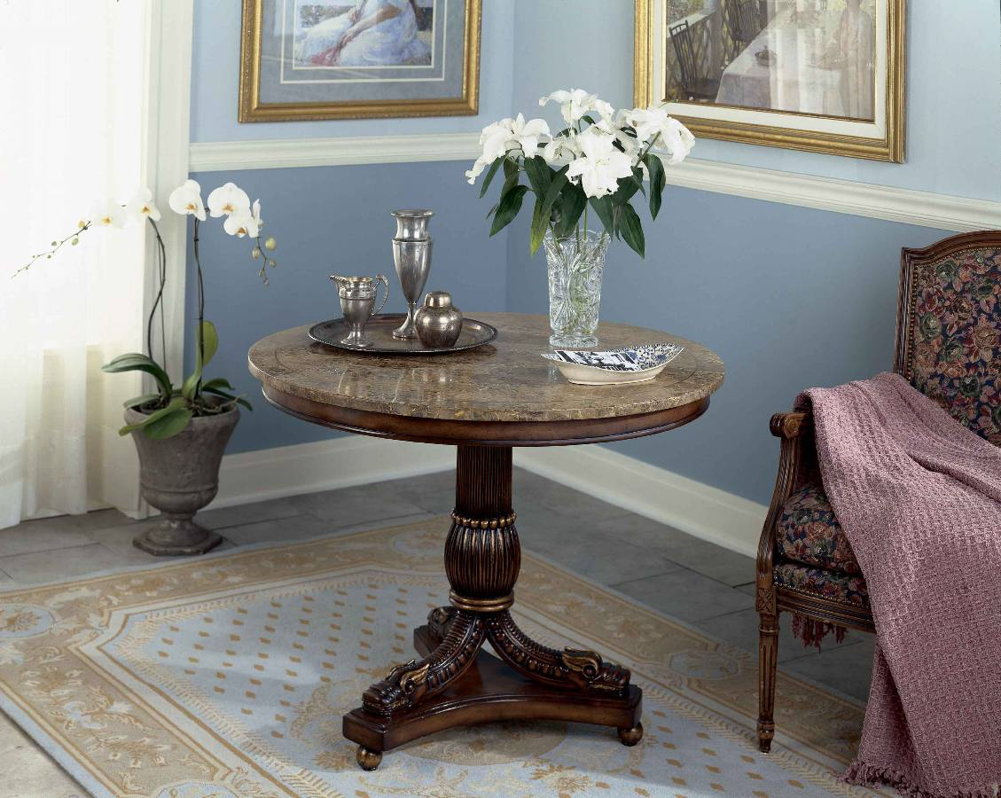 furniture round accent entryway foyer table and tables with floral arrangement armchair also area rug tile floors interior paint ideas plus chair rails for entrance chic decorate