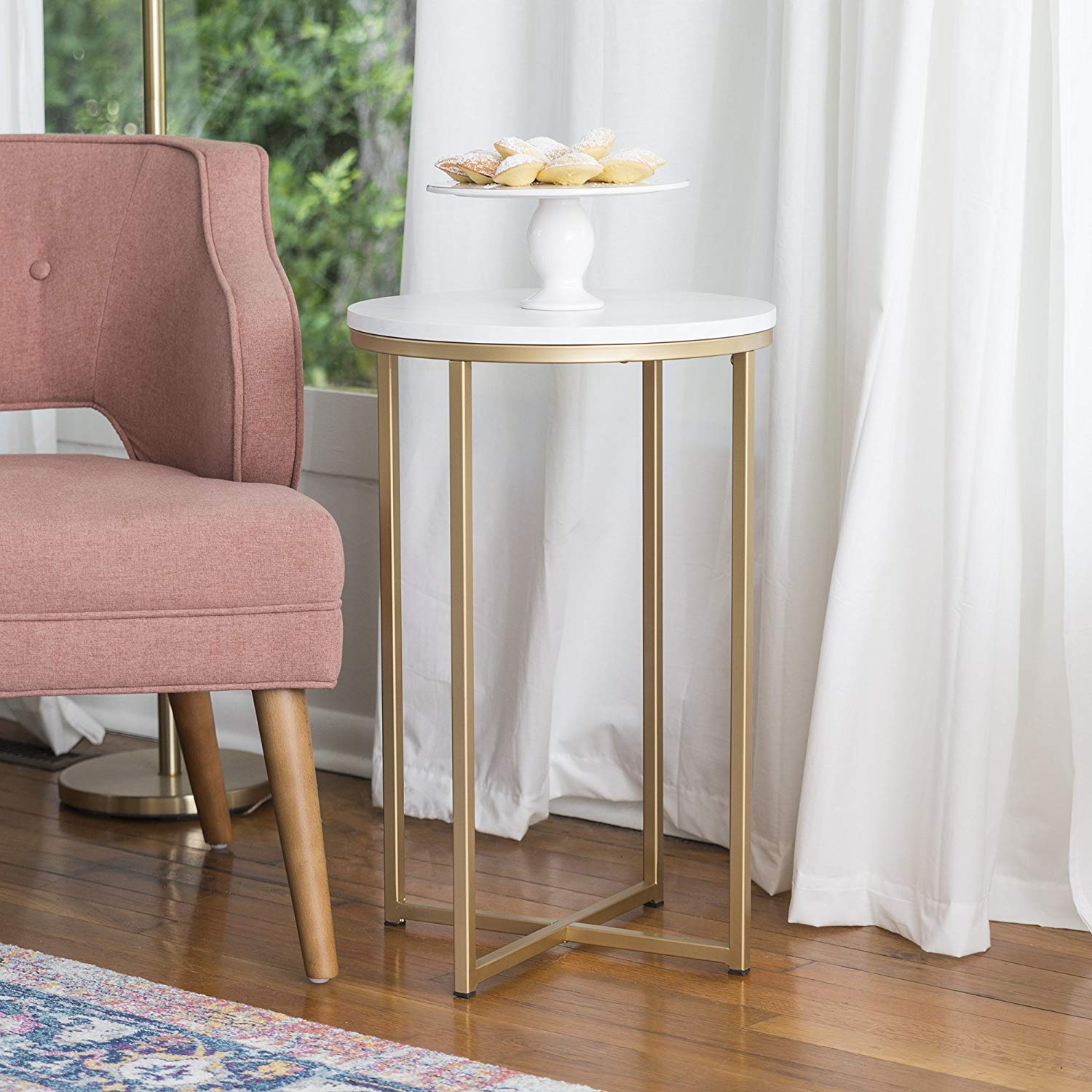 furniture round side table faux marble gold pink accent kitchen dining ballard bar stools drum chair antique oak with drawer chest tables ikea outdoor protector battery lamps