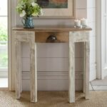 furniture shabby chic white half moon console table with drawers also hobby lobby together all things cedar black accent gold and glass pier one nesting tables oil rubbed bronze 150x150