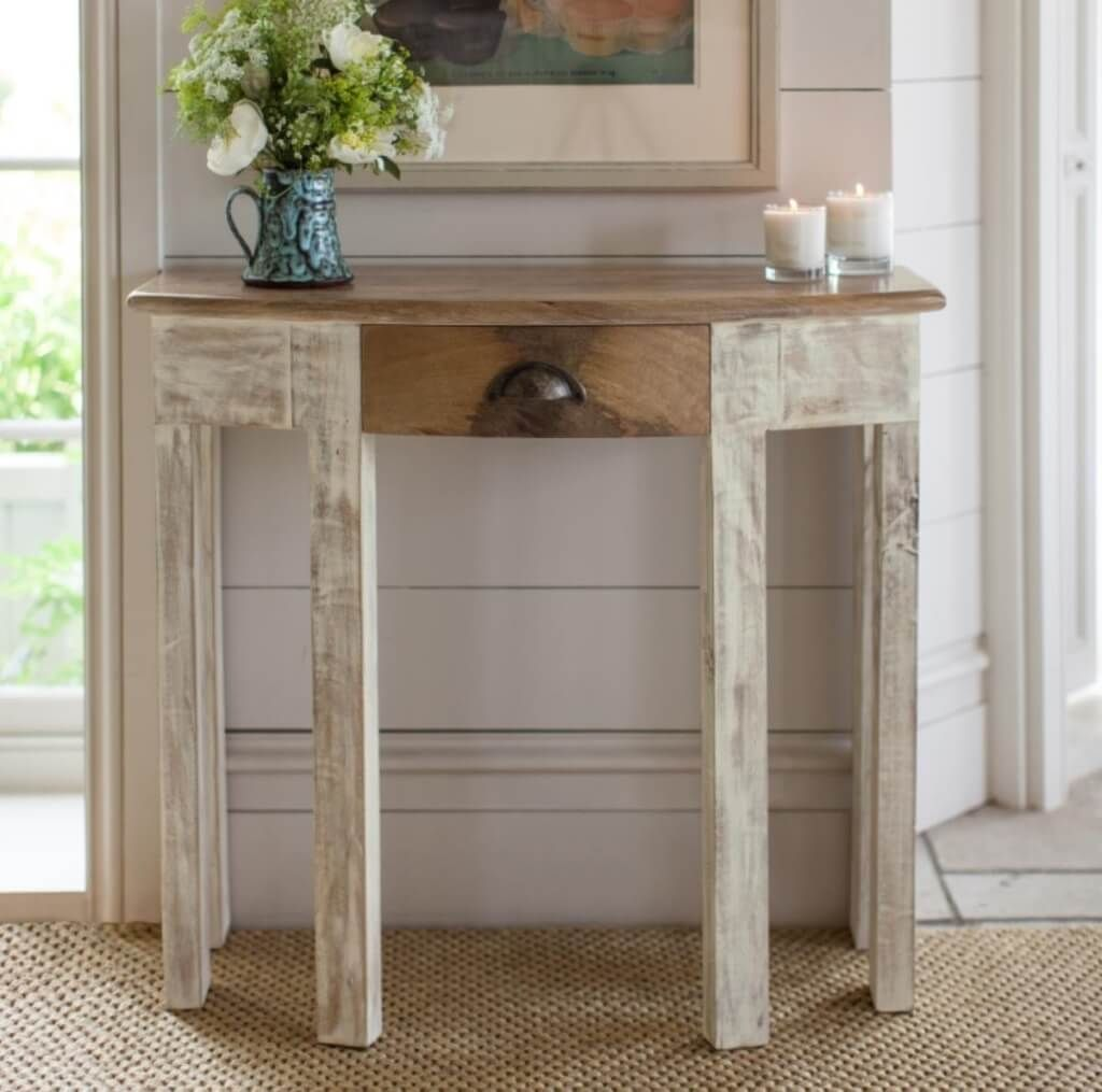 furniture shabby chic white half moon console table with drawers also hobby lobby together all things cedar small accent chinese ceramic lamp mirrored glass top dining outdoor