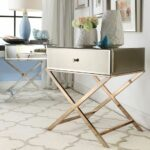 furniture simple modern mirrored accent table with drawer and stainless steel cross legs ideas round oak dining natural wood mid century entry wicker patio sets unfinished small 150x150