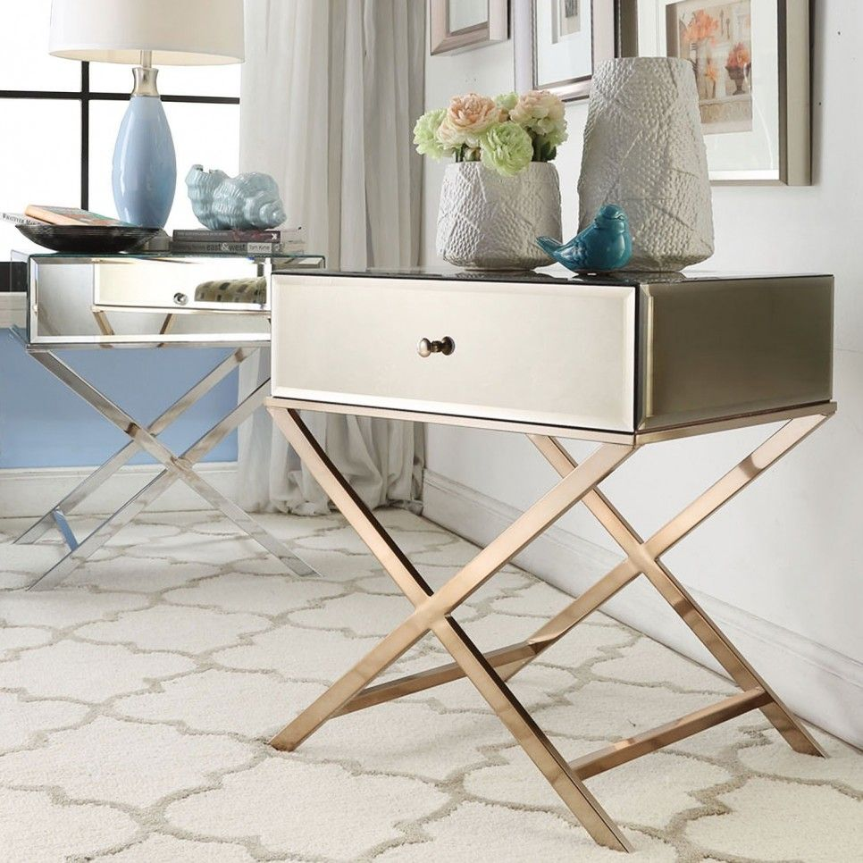 furniture simple modern mirrored accent table with drawer and stainless steel cross legs ideas wooden fancy tablecloths samsung prix maroc patio end storage outside wall clocks