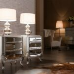 furniture simple wood sofa side table ideas grey floor with luxury silver mirrored veiled lamps brick wall accents cream brown fabric armchair ceramic tiger skin rug white accent 150x150