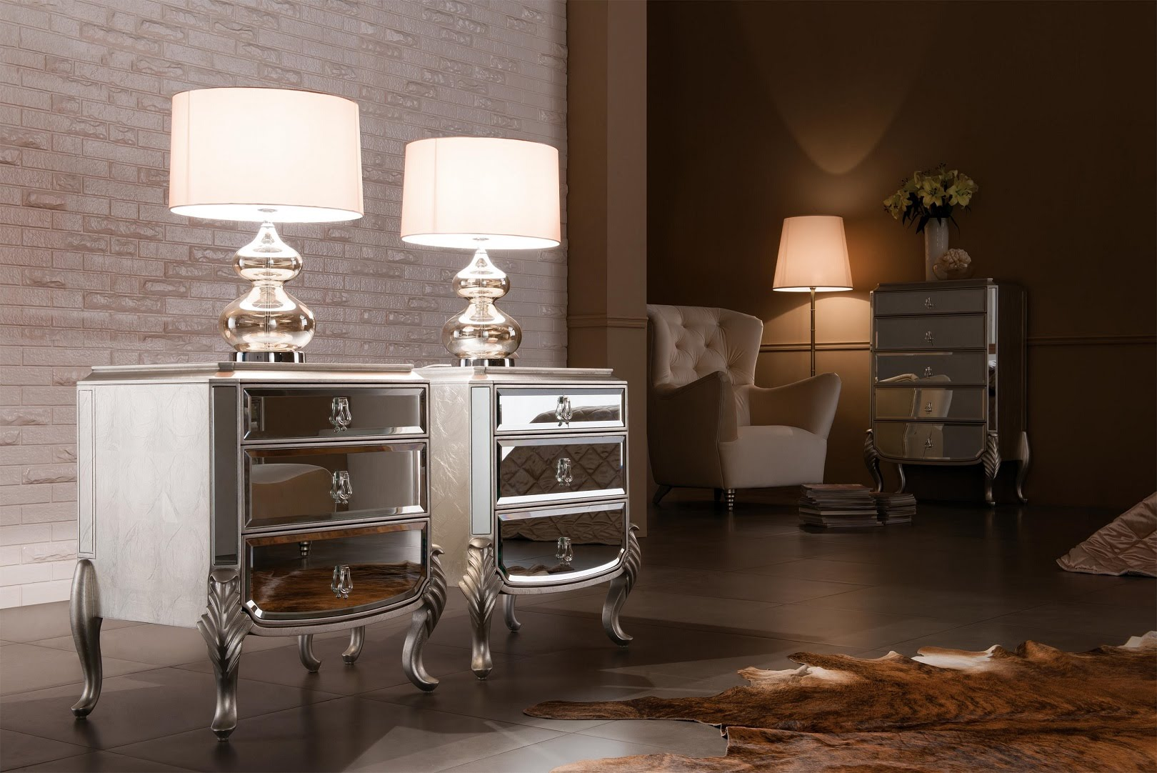 furniture simple wood sofa side table ideas grey floor with luxury silver mirrored veiled lamps brick wall accents cream brown fabric armchair ceramic tiger skin rug white accent