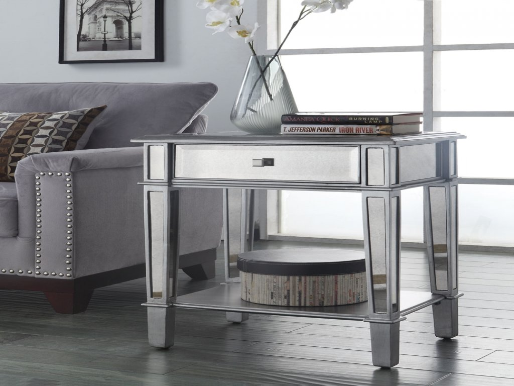 furniture small bathroom accent tables fresh mirrored luxury painted silver color table with black bedside outdoor lights living room coffee set antique drawer galvanized metal