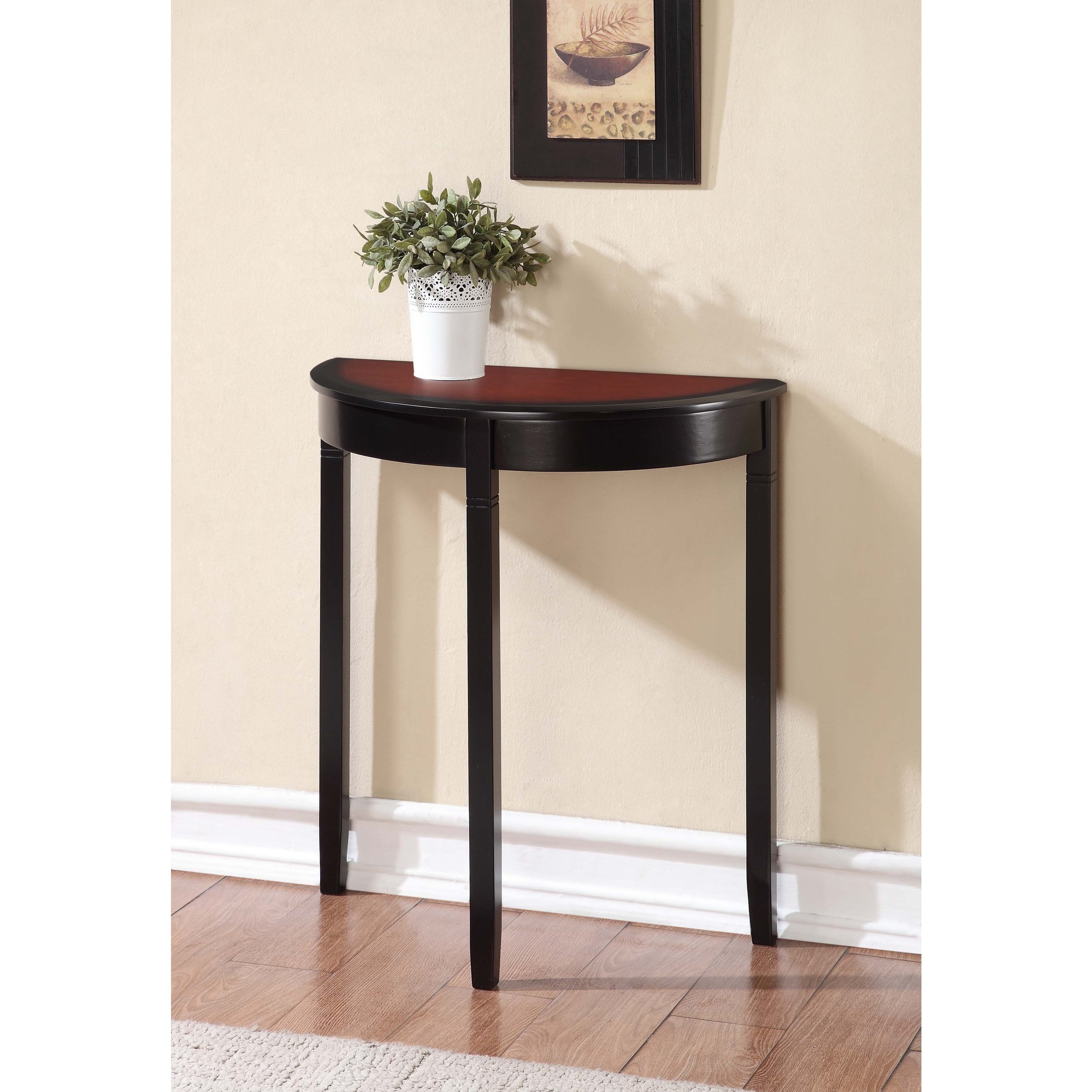 furniture small cherry wood demilune console table with high legs and painted black color narrow hallway spaces ideas accent tables contemporary acrylic side white end mid century