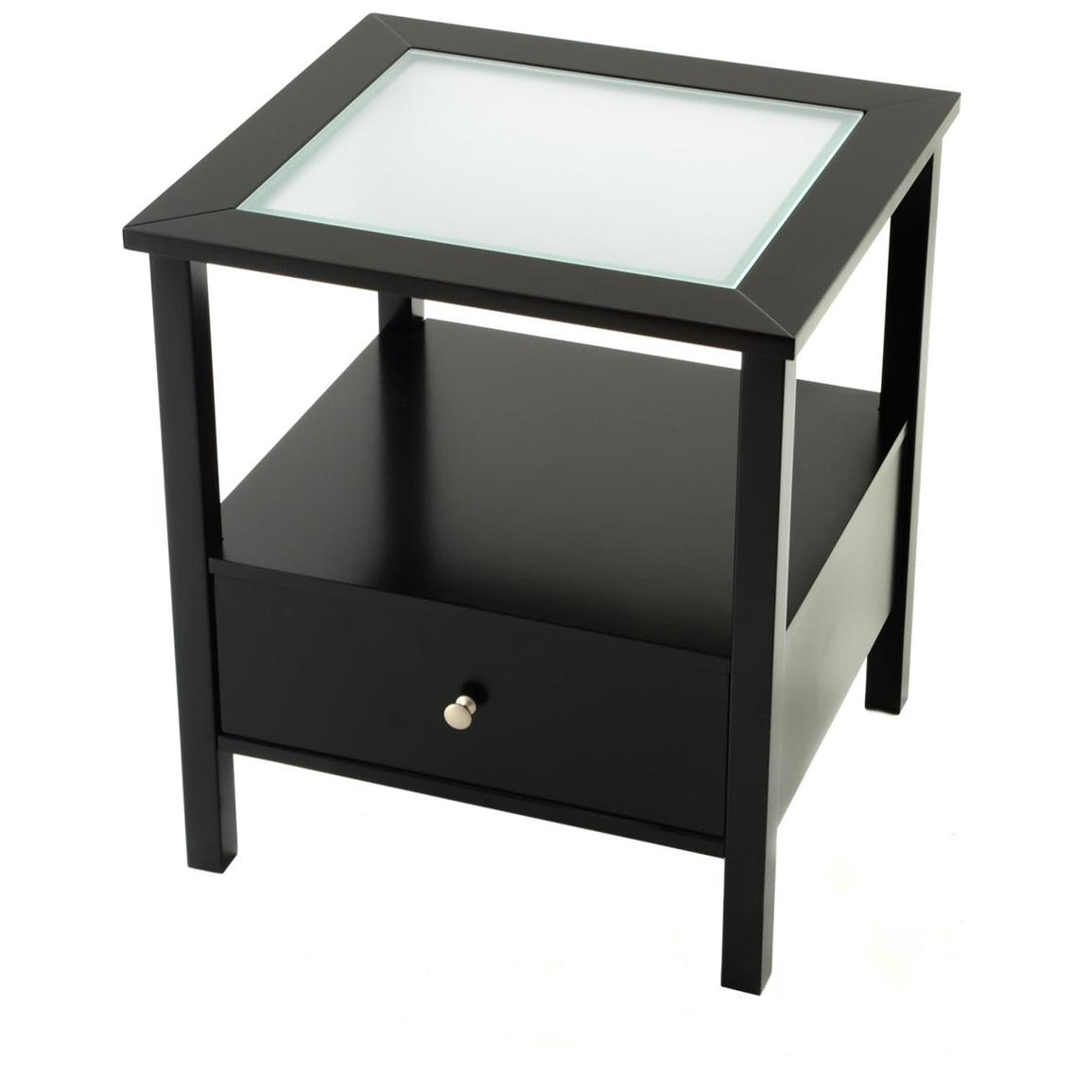 furniture square black staine dwooden end table with frosted glass top and drawers computer desk shelves office winsome wood drawer shelf stained wooden modern home desks tall