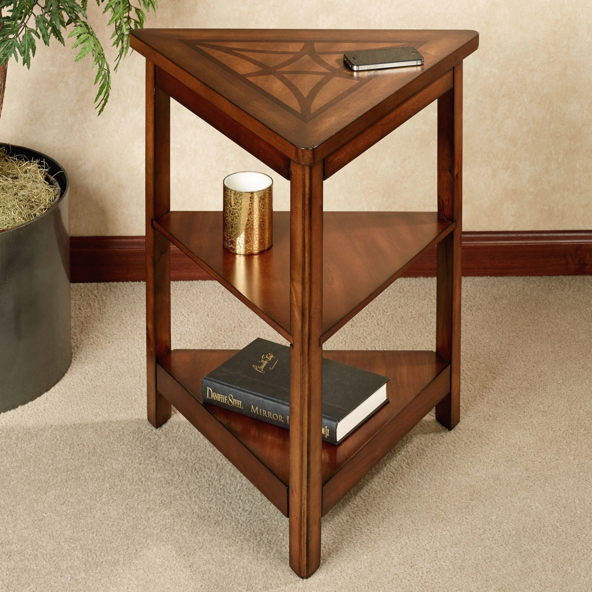 furniture three tiers wood triangle end table with shelves gallery nice accent shelf applied your home inspiration storage steel coffee legs walnut nest tables west elm scoop lamp