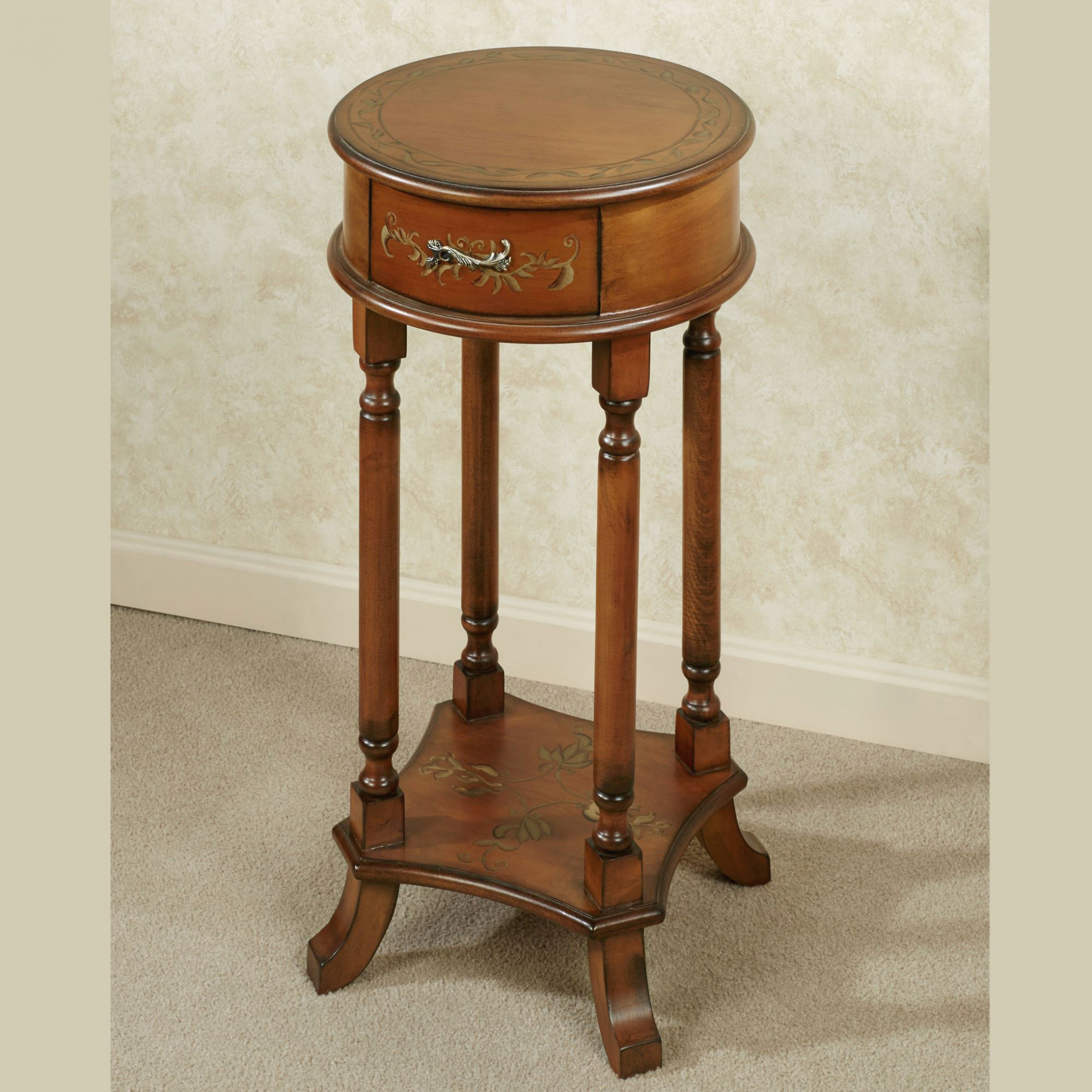 furniture trellis round accent table with regard small wood antique oak charming your house idea embroidered tablecloth bedroom essentials distressed coffee and end tables pulls