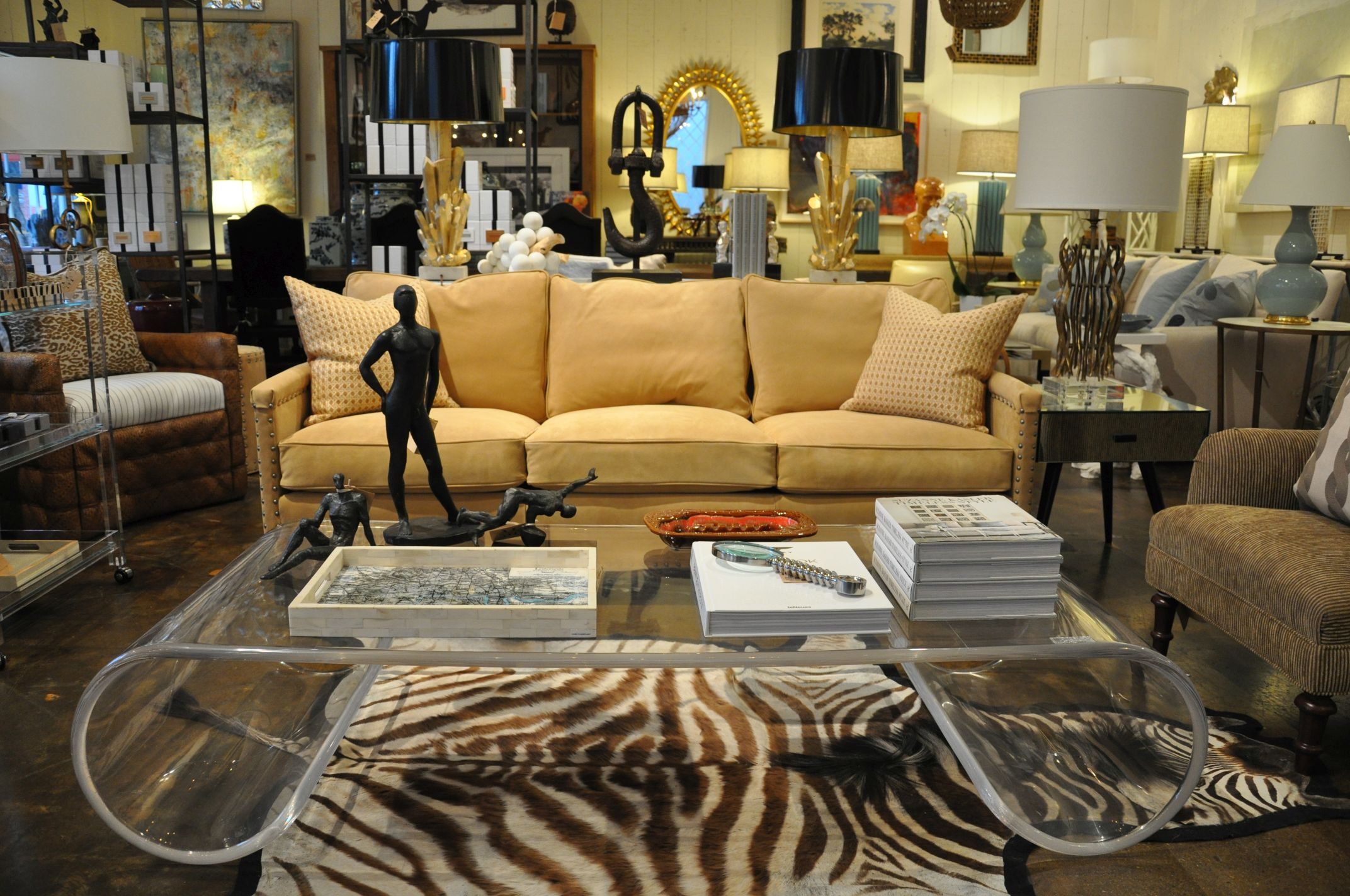 furniture unique living room design with lucite coffee table zebra rugs and beige loveseat decorative cushions plus ikea side lamp gray accent chair inexpensive sofa tables patio