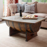 furniture wooden barrel coffee table for rustic living room wine side kitchen whiskey cooler whisky lighting bar outdoor with marble top tea pottery barn square magnussen 150x150