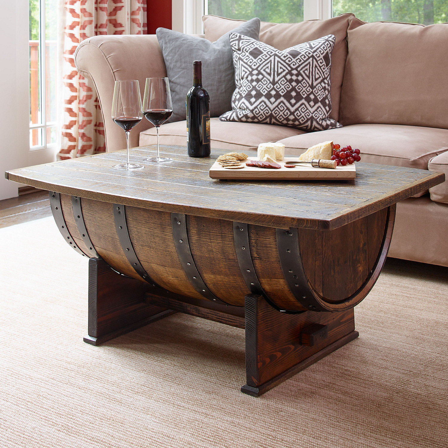 furniture wooden barrel coffee table for rustic living room wine side kitchen whiskey cooler whisky lighting bar outdoor with marble top tea pottery barn square magnussen