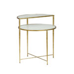 gabby home langdon white glass and champagne metal side table sch threshold accent marble nice end tables inch high west elm wood shelves set nautical chandelier light fixtures 150x150