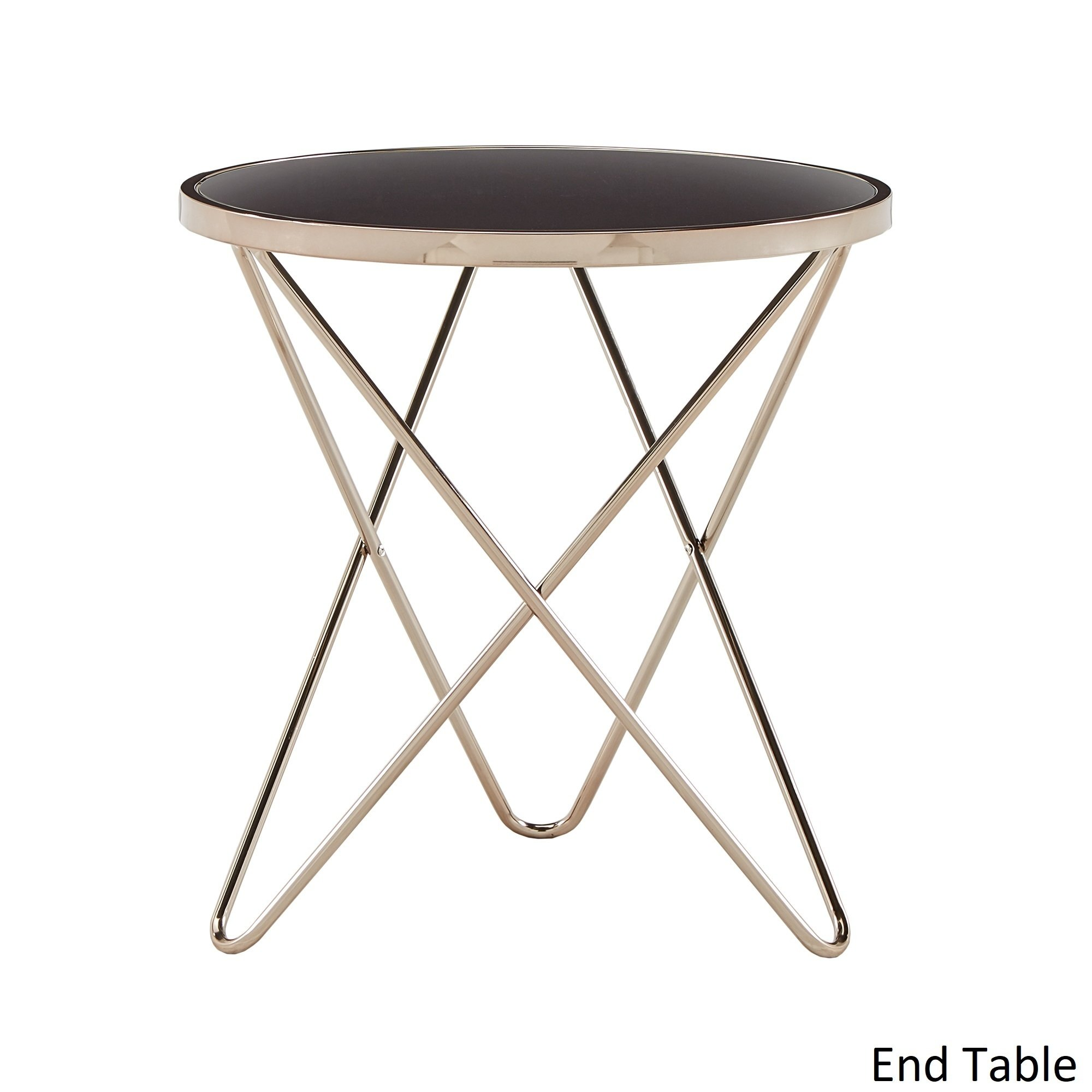 gabe champagne gold finish hairpin leg accent tables with black glass top inspire bold room essentials table free shipping today legs small ginger jar lamps round entry cool