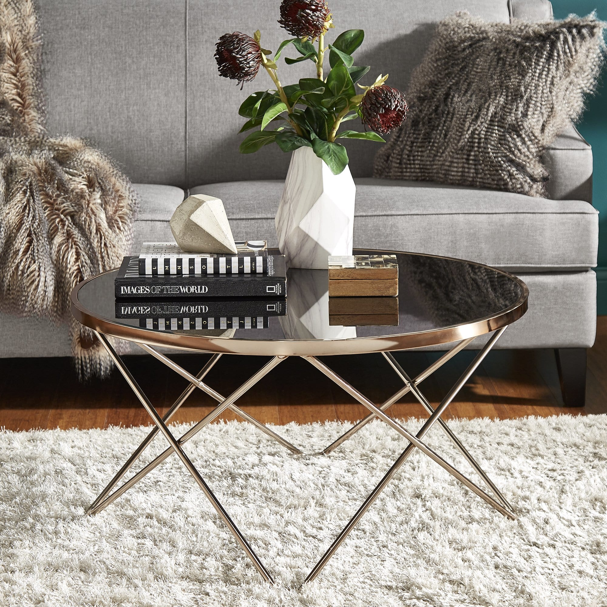 gabe champagne gold finish hairpin leg accent tables with black glass top inspire bold room essentials table free shipping today marble brass side baby round entry small entryway