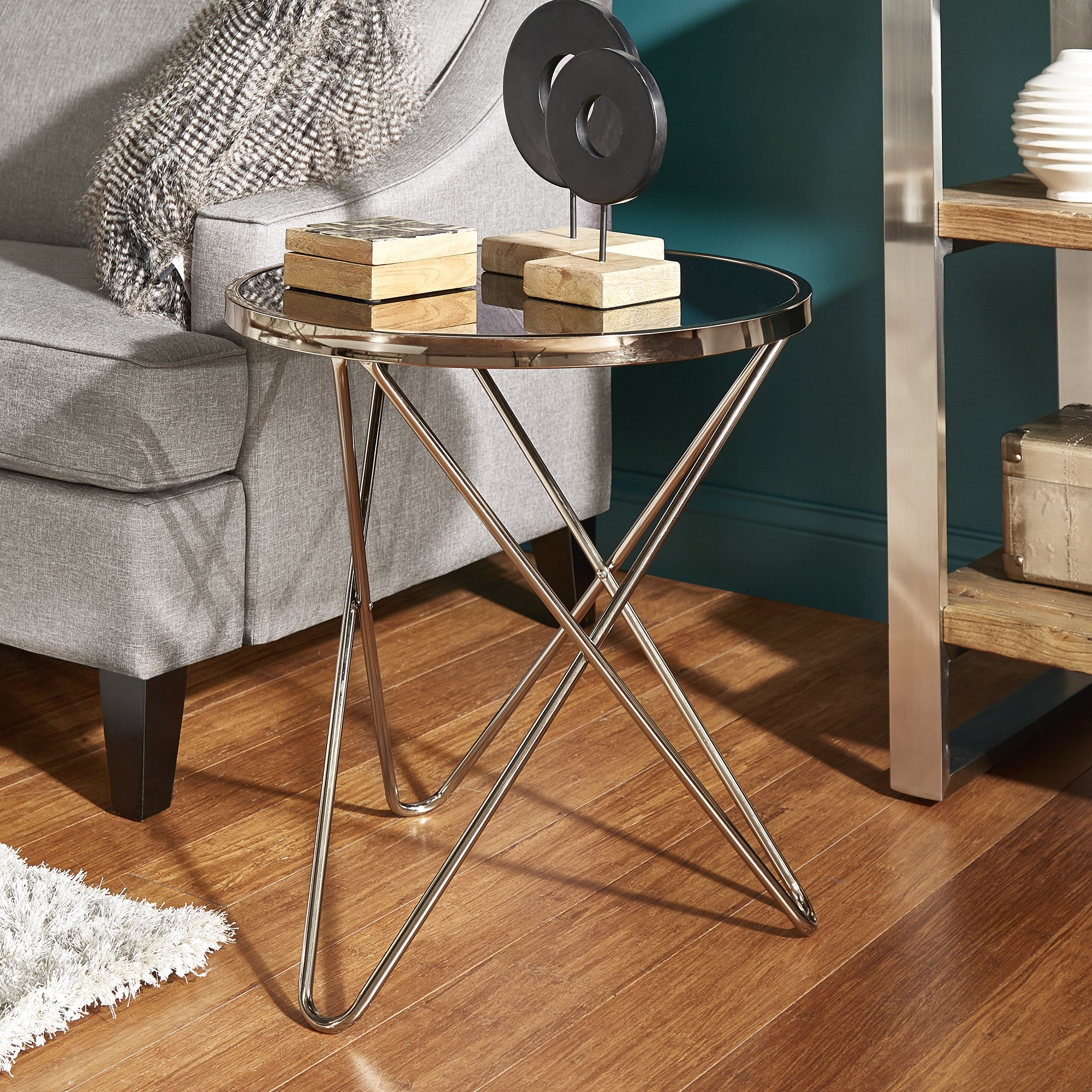 gabe champagne gold finish hairpin leg accent tables with black glass top inspire bold room essentials table free shipping today small side drawers low round coffee ginger jar